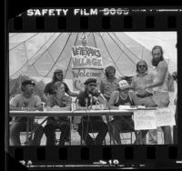 "Vietnam veterans holding press conference during camp out demonstration called ""Veterans Village"" in Glendale, Calif., 1981"