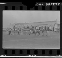 Air traffic controllers picketing Pan Am cargo terminal in Los Angeles, Calif., 1981