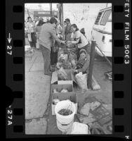Vietnamese street vendors selling produce outside Mah Wah market in Chinatown, Los Angeles, Calif., 1982