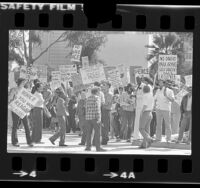 Variety of protesters picketing President Ronald Reagan's appearance in Los Angeles, Calif., 1982