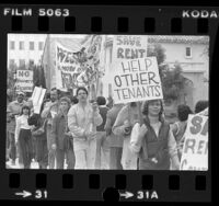 Rent control proponents demonstrating outside mayor's residence in Los Angeles, Calif., 1982