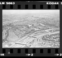 Aerial view of California State University, Los Angeles campus and surrounding area, 1982