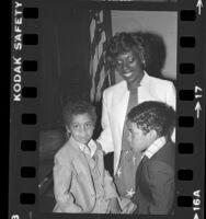 Mayor Loretta Thompson-Glickman with sons Jacob and Samuel in Pasadena, Calif., 1982