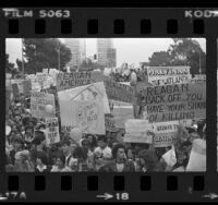 Variety of protesters outside President Ronald Reagan speaking engagement in Los Angeles, Calif.