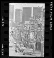 Street scene with mixture of signs in Korean and English in Los Angeles' Koreatown, 1982