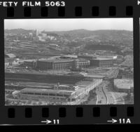 Bird's-eye view of C. Erwin Piper Technical Center, Union Station and County USC Medical Center, Los Angeles, 1983