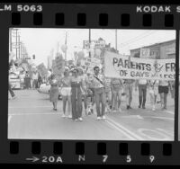 Gay Pride Parade, parents and friends of gays and lesbians marchers, West Hollywood, Calif., 1983