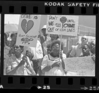 Neighborhood demonstration against drugs and crime at Mt. Pleasant Hill Baptist Church in Los Angeles, Calif., 1983