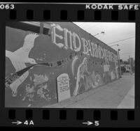 "Mural reading ""End Barrio Warfare...In Memory of all the Beautiful Homeboys…"" at E. Hammel St. in Los Angeles, Calif., 1983"