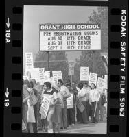 Striking teachers picketing Grant High School in Van Nuys, Calif., 1983