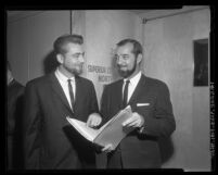 Teachers Paul Finot and Ken Miedema at Pasadena Board of Education hearing in Los Angeles Superior Court, Calif., 1963