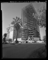 Construction of the Crown Towers high-rise apartments on Wilshire Blvd. in Westwood, Calif., 1963