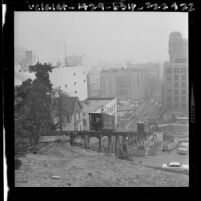 Unobstructed view of Angels Flight railway after surrounding buildings had been torn down for Bunker Hill redevelopment in Los Angeles, Calif., 1963