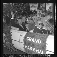 Dwight D. Eisenhower and wife, Mamie as Grand Marshal of 75th annual Tournament of Roses parade, 1964