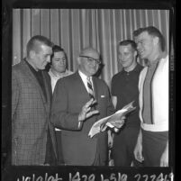 Coach George Halas with Pro Bowl players Johnny Unitas, Terry Barr, Gail Cogdill and Bill Wade, 1964