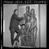 "Dr. Joseph Young with his mosaic mural ""The Family and Center Life""  at Valley Cities Jewish Community Center, Calif., 1964"