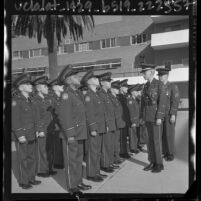 Young boys of Company D during inspection at St. Catherine's Military Academy in Anaheim, Calif., 1964