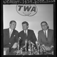 """John V. Tunney, Edward """"Ted"""" Kennedy and unidentified man at press conference held before meeting of California Democrats, 1964"""