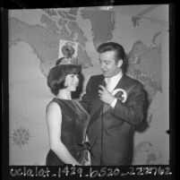Bobby Darin, Ambassador for American Heart Association, crowning Marcy Milan as Heart Fund Queen for Los Angeles County, 1964
