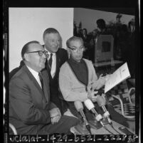 Eddie Cantor at press conference with Governor Edmund G. (Pat) Brown and George Jessel in Calif., 1964