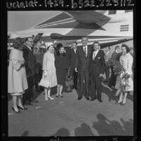 Lyndon Johnson, Governor Edmund G. (Pat) Brown and their wives greeting Mexico's President Adolf Lopez Mateos in Los Angeles, Calif., 1964
