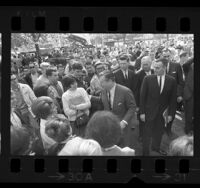 New York Governor Nelson Rockefeller surrounded by students during visit to USC, Los Angeles, Calif., 1964