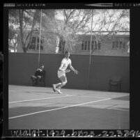 USC tennis player Dennis Ralston during final round of the Southern California Intercollegiates, 1964