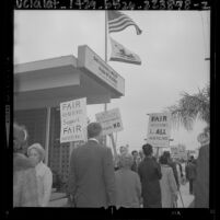 Pickets at Valley Board of Realtors office in protest over board's stance against Rumford Housing Act, Van Nuys, Calif., 1964