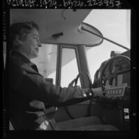 Former WAFS pilot Nancy Crews at the controls of Piper Colt, Anaheim, Calif., 1964