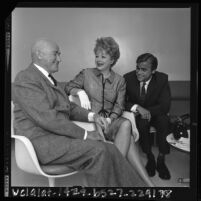 Samuel Goldwyn sitting with Lucille Ball and Larry H. Johnson, winner of the 1964 Samuel Goldwyn Creative Writing Award