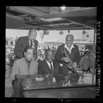 Wayne King, Count Basie, Duke Ellington and Bill Elliot at Big Band Festival at Disneyland, Anaheim, 1964