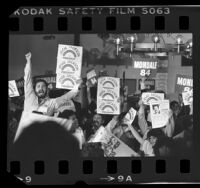 "Crowd waving ""Jesse Jackson for President"" and ""Mondale 84"" placards in San Jose, Calif., 1984"