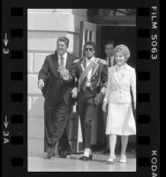 Michael Jackson with President Ronald Reagan and Nancy Reagan at the White House, Washington D.C., 1984
