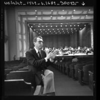 Ronald McKay, acoustic consultant for UCLA's Royce Hall restoration, Calif., 1984