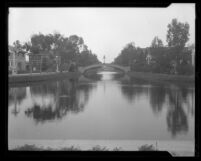 Canal with bridge in Venice Beach, Calif., circa 1925