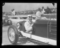 Race car driver Leon Duray seated in number 12 car in Culver City, Calif., 1927