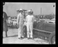 Race car driver Pete de Paolo with crew member in Culver City, Calif., 1927