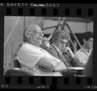 "Writer Arthur Miller, seated by Gordon Davidson, laughing during rehearsal of ""The American Clock"" at Mark Taper Forum in Los Angeles, Calif., 1984"