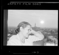 Writer Doris Lessing, portrait in profile, 1984
