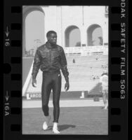 Carl Lewis during the 1984 U.S. Olympic trials at the Coliseum in Los Angeles, Calif.