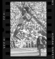 Carl Lewis mid-leap at the 1984 U.S. Olympic trials in Los Angeles, Calif.