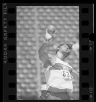 Dave Laut releasing ball during shot-put at the 1984 U.S. Olympic trials in Los Angeles, Calif.