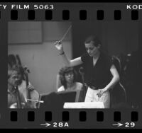 Conductor Fellow, Gisele Buka Ben-Dor rehearsing with the Los Angeles Philharmonic Institute Orchestra, 1984