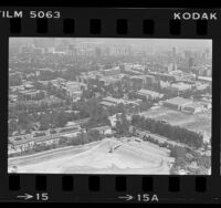 Aerial view of UCLA campus and Westwood, Calif., 1984