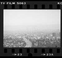 Cityscape of Los Angeles, viewed from Mulholland Drive looking out on 101 Freeway towards downtown, Los Angeles, 1984