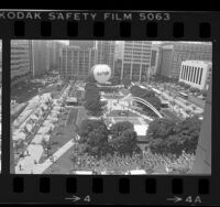 Birds-eye view of Pershing Square rededication in Los Angeles, Calif., 1984
