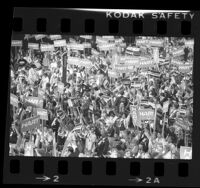 Delegates waving Hart and Mondale signs at the 1984 Democratic National Convention in San Francisco, Calif.