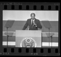 Los Angeles Mayor Tom Bradley speaking at the Democratic National Convention in San Francisco, Calif., 1984
