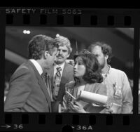 NBC reporter Connie Chung interviewing Tom Hayden at the 1984 Democratic National Convention