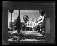 Beverly Hills Hotel, front driveway and entrance (copy photo), Beverly Hills, circa 1925